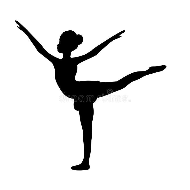 Sportive gymnastique de silhouette de sport de fille illustration stock