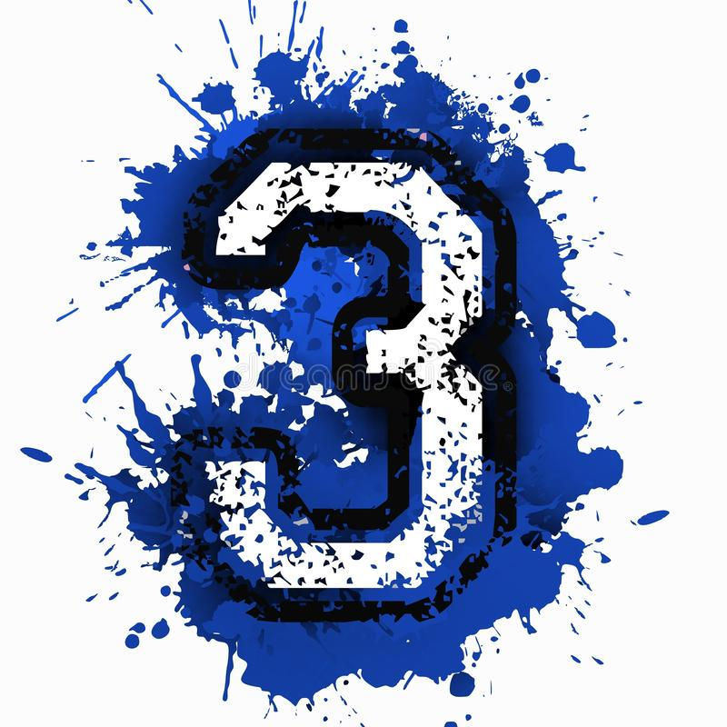 Number three over blue stain. vector illustration