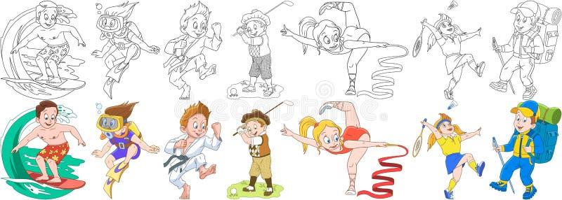 Sportive Kinder der Karikatur eingestellt lizenzfreie abbildung