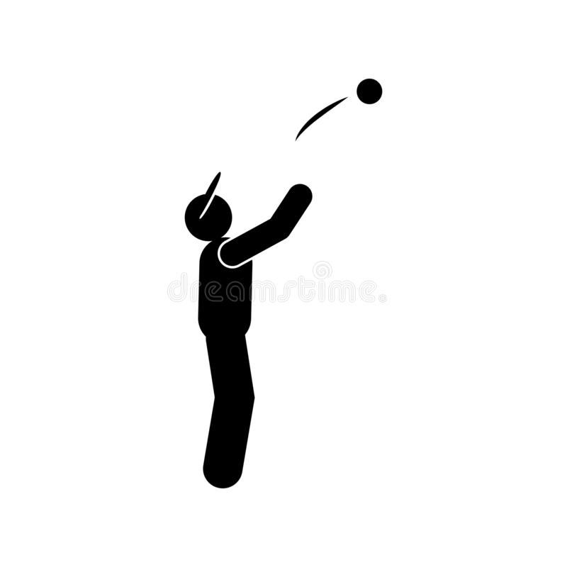 Sportive man ball glyph icon. Element of baseball sport illustration icon. Signs and symbols can be used for web, logo, mobile app stock illustration
