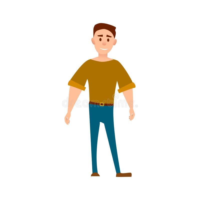 Sportive man i full längd för T-tröja och för jeans royaltyfri illustrationer