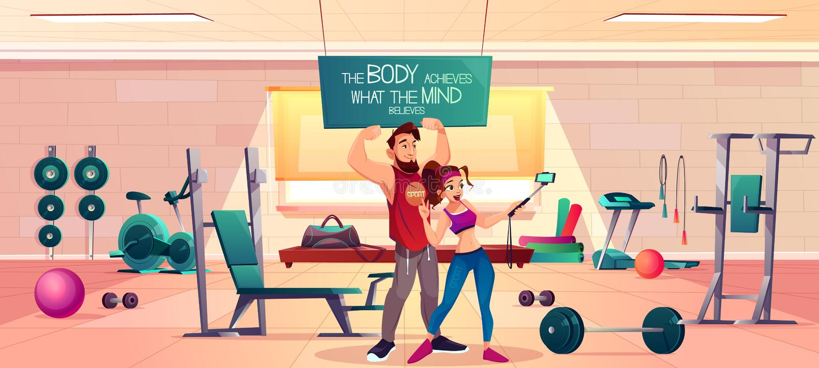Sportive people in fitness gym interior vector. Fitness club clients cartoon vector concept. Young man and woman in sportswear, showing biceps muscles and stock illustration