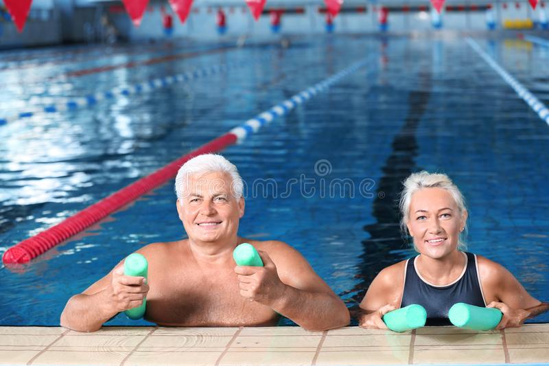 Sportive senior couple with swimming noodles royalty free stock photography