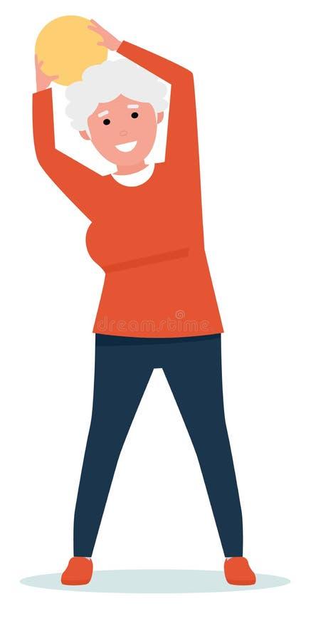 Sportive starsza kobieta z piłką - odosobnioną Postaci z kreskówki mieszkania stylu ilustracja ilustracja wektor