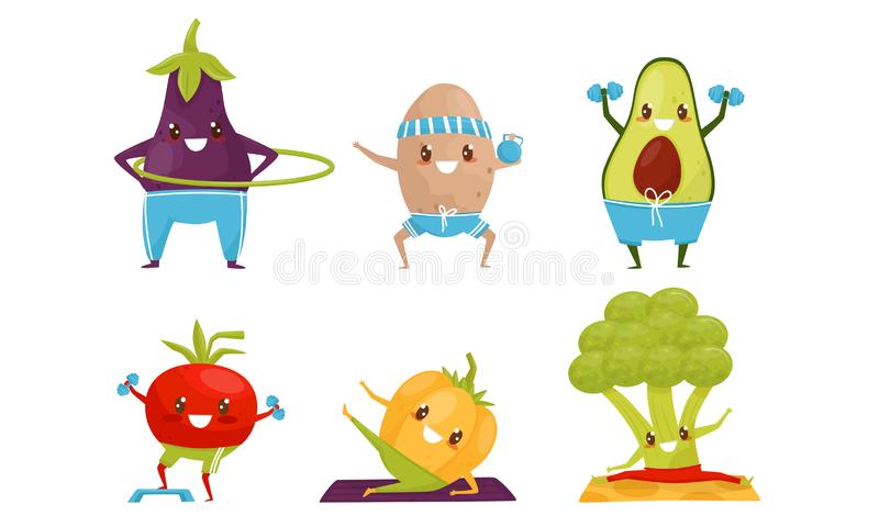 Sportive Vegetables Cartoon Character Doing Fitness Exercises Collection, Healthy Lifestyle Concept Vector Ilustracja royalty ilustracja