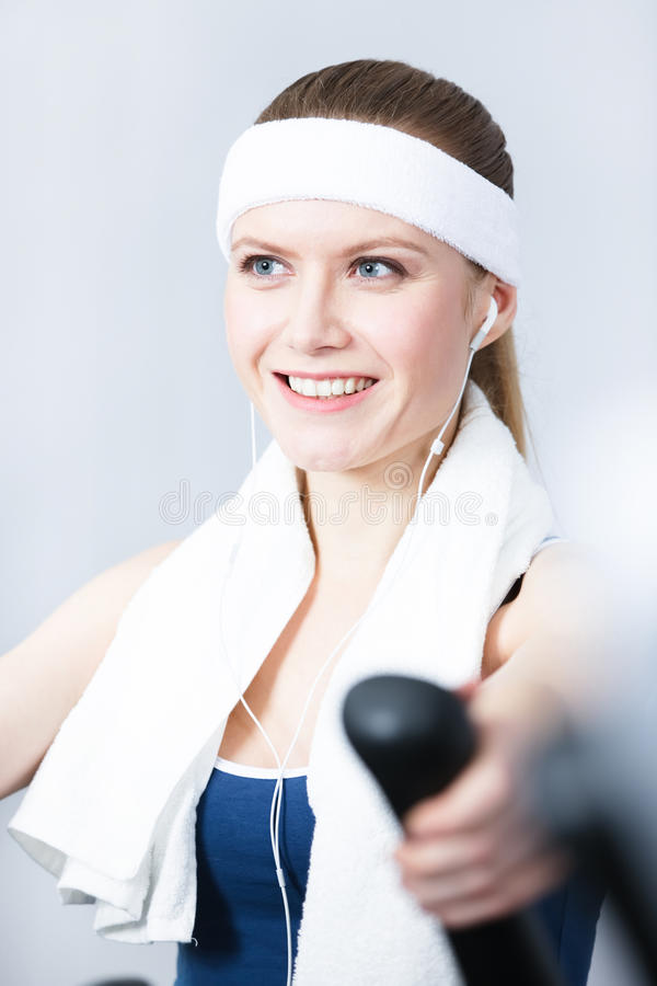 Download Sportive Woman Training On Training Apparatus In Gym Stock Photo - Image: 28593102