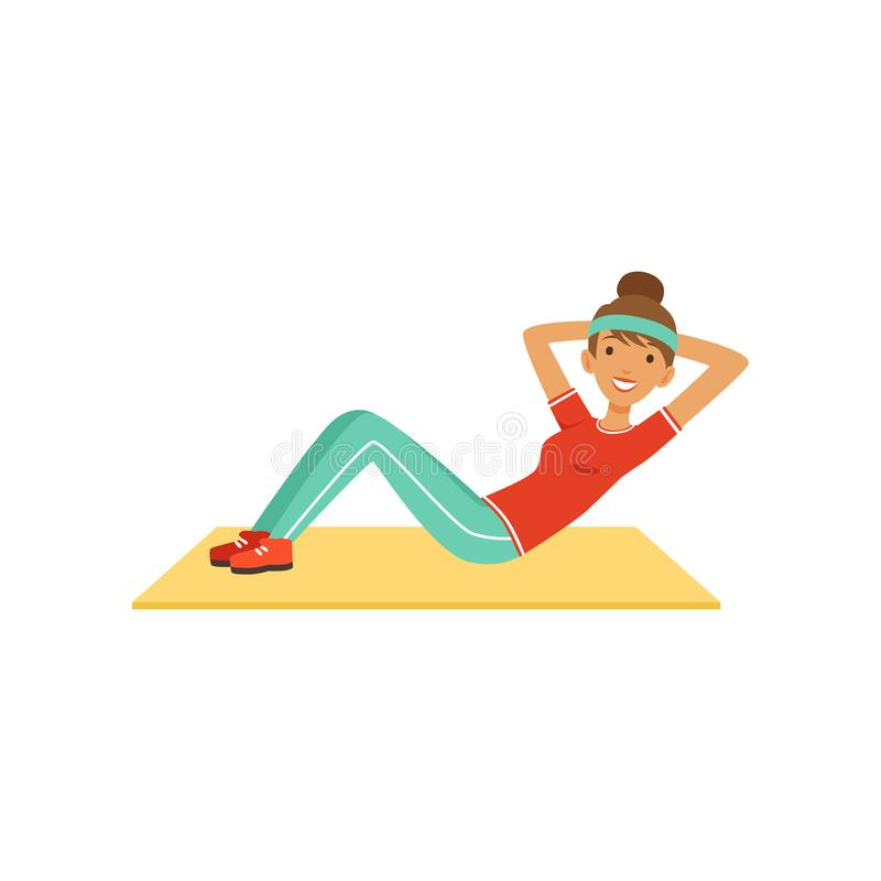 Sportive young woman character doing an abdominal crunches, girl working out in the fitness club or gym colorful vector royalty free illustration