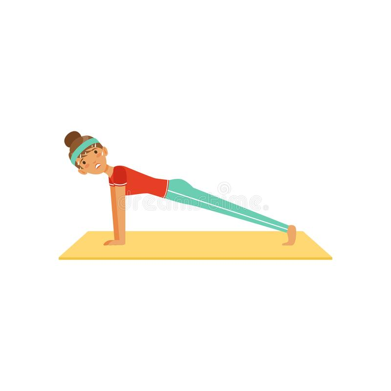 Sportive young woman character doing the push up exercise, girl working out in the fitness club or gym colorful vector royalty free illustration