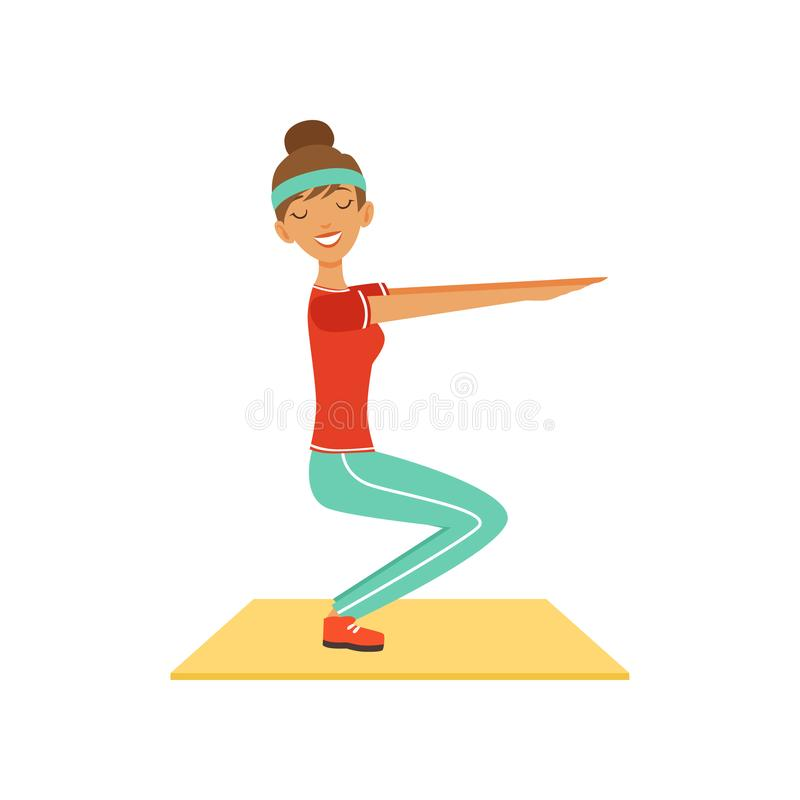 Sportive young woman character doing squats, girl working out in the fitness club or gym colorful vector Illustration royalty free illustration