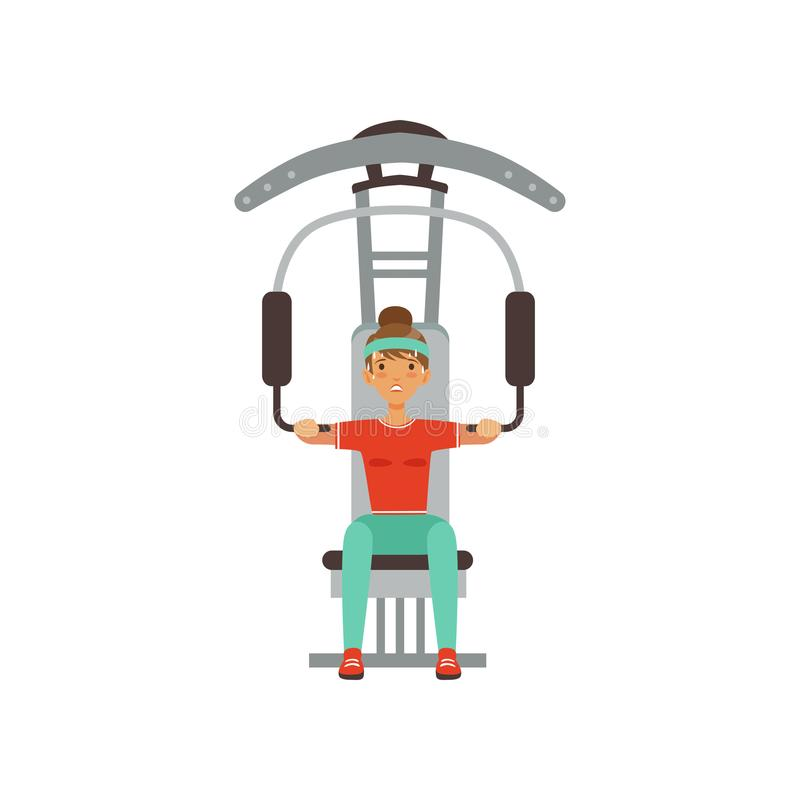 Sportive young woman character flexing muscles on trainer gym machine, girl working out in the fitness club or gym royalty free illustration