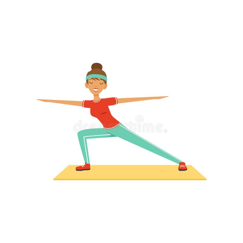 Sportive young woman character lunging, girl working out in the fitness club or gym colorful vector Illustration royalty free illustration