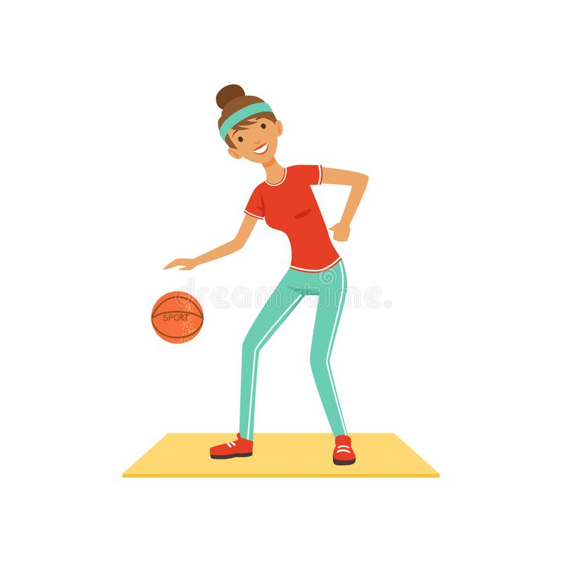 Sportive young woman character woman playing basketball, girl working out in the fitness club or gym colorful vector. Illustration isolated on a white royalty free illustration