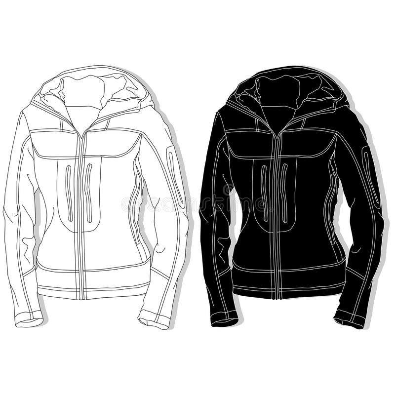 Sportjasje op witte achtergrond wordt geplaatst die vector illustratie
