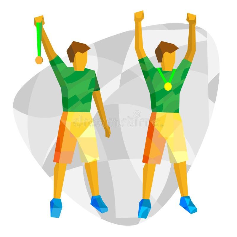 Sportkampioenen - twee atleten die medailles tonen vector illustratie