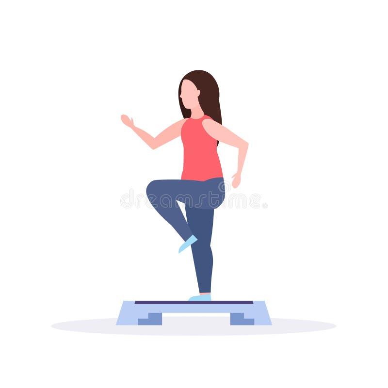 Sportkvinna som framlänges gör squats på utbildning för momentplattformflicka i för aerobisk begrepp för livsstil bengenomkörare  royaltyfri illustrationer