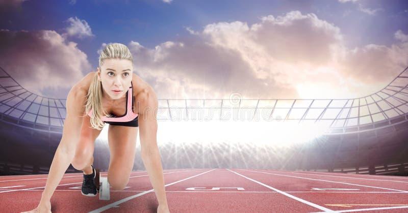 Sportlöpare på den startande linjen i stadion vektor illustrationer