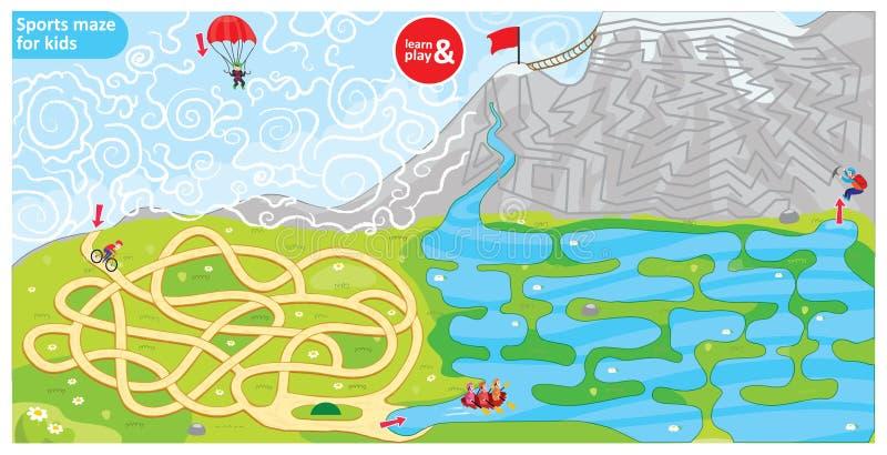 Sportlabyrint för ungar Pussel för utvecklingslogik i barn Cykeln för sporttemalabyrint, hoppa fallskärm, att ro och att klättra royaltyfri illustrationer