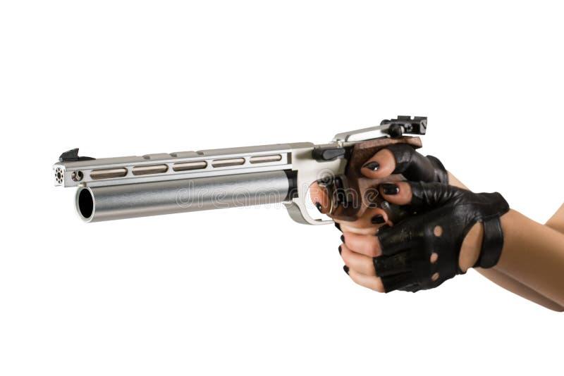 Sportlaser-pistol, femkampvapen vapen i kvinnliga händer arkivfoto