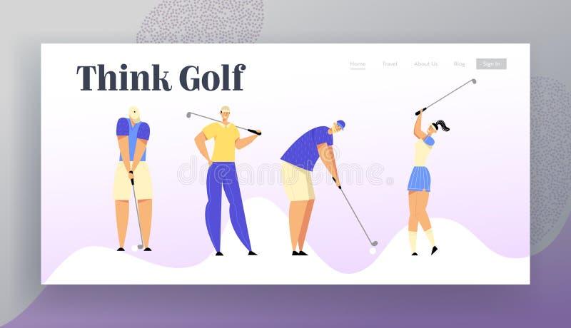 Sportlek, turnering, sommarlyxrekreation Websitelandningsida, grupp människor i enhetlig spela golf för sportar royaltyfri illustrationer