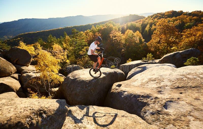 Sportlerradfahrer, der auf Hinterrad auf Probefahrrad balanciert stockfotografie