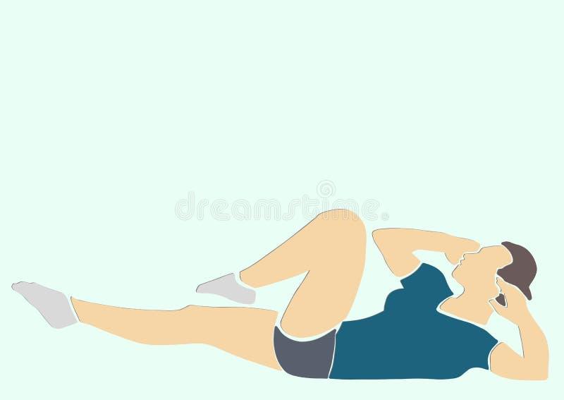 Sportliche Frau pumpt die abdominals stock abbildung