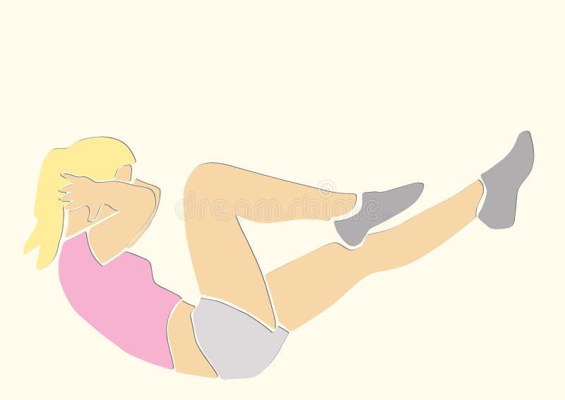 Sportliche Frau pumpt die abdominals lizenzfreie abbildung
