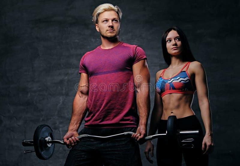Sportlicher Mann hält Barbellgewicht und weibliches Modell O der dünnen Eignung lizenzfreie stockfotos