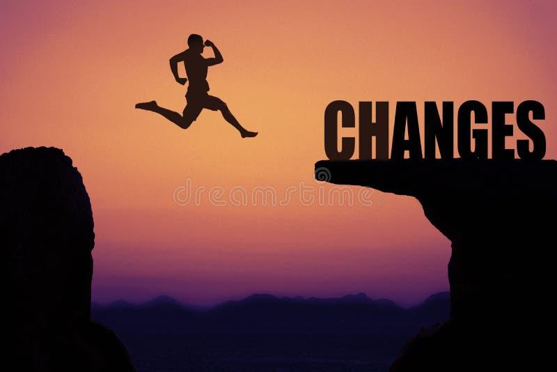 Sportlicher springender Mann als Symbol für das Lebenändern stockfotografie