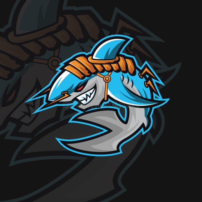 Sportlogo för haj e arkivbild