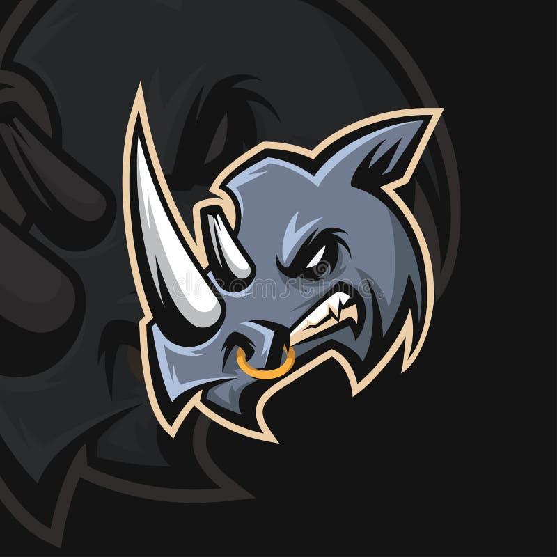 Sportlogo för noshörning e stock illustrationer