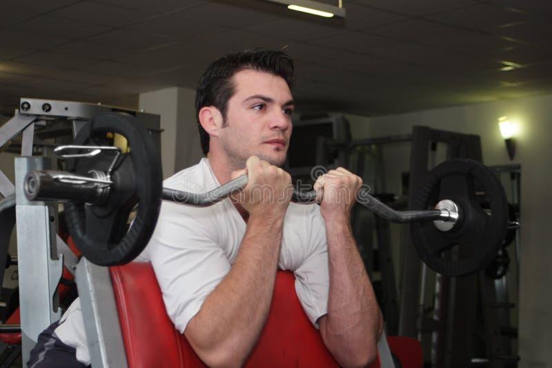 Sportman bij gymnastiek 1 royalty-vrije stock afbeeldingen