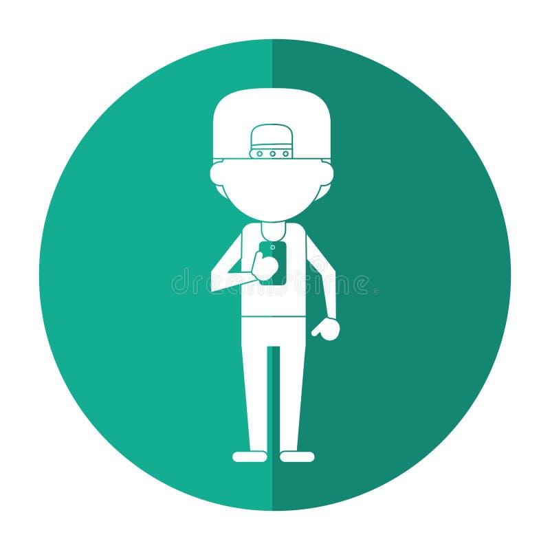 Sportman charakter używa smartphone cień ilustracji