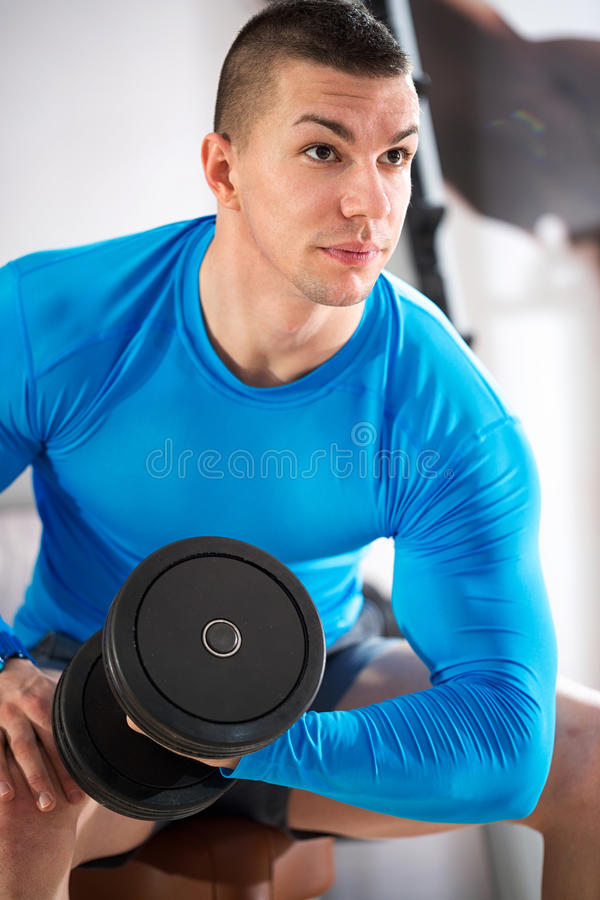 Sportman doing weights lifting. At gym royalty free stock photos