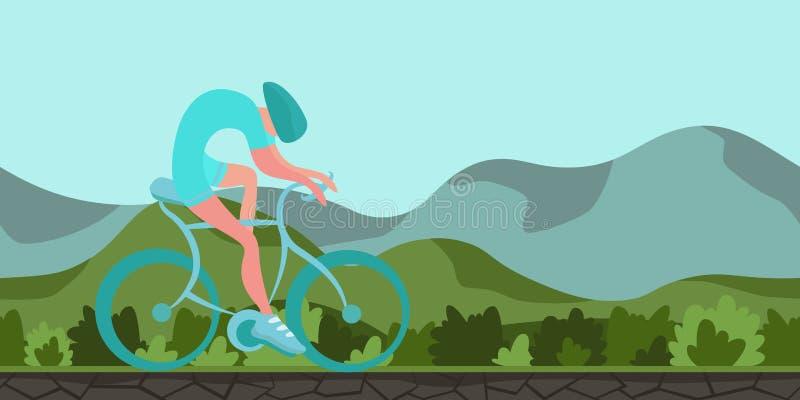Sportman het cirkelen op groene heuvelige achtergrond Samenvatting gestalte gegeven cijfer aangaande realistisch landschap Kleurr vector illustratie