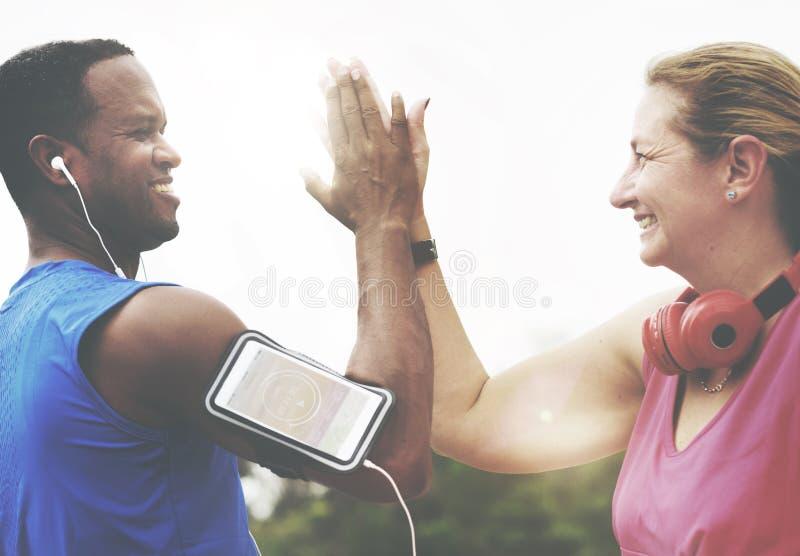 Sportman Sportwoman Podcast Playlist Athlete Concept.  stock photography