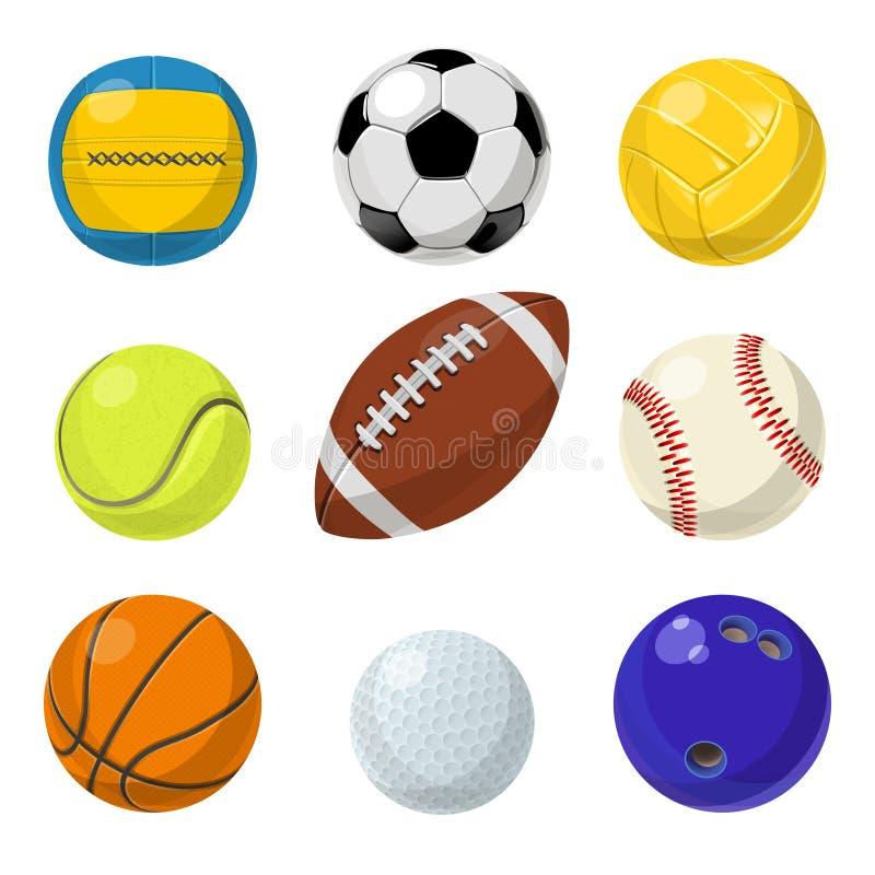 Sportmateriaal Verschillende ballen in beeldverhaalstijl Vectorinzamelingsreeks stock illustratie