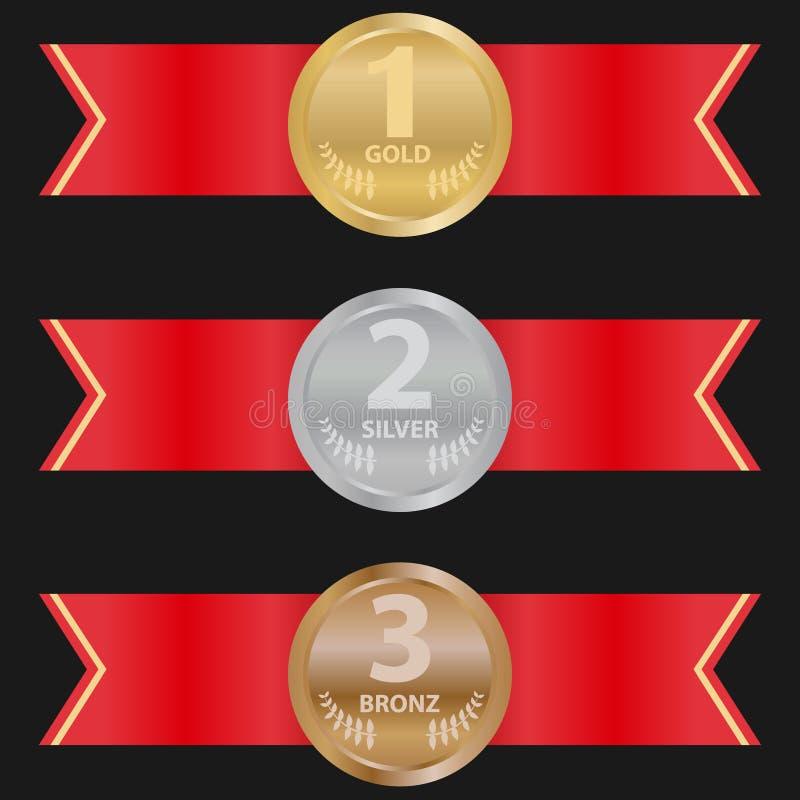 Sportmedaljer med ett rött band på en svart bakgrund En uppsättning av guld-, silver- och bronssportmedaljer vektor illustrationer