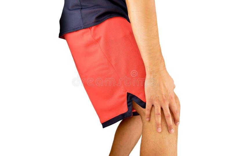 Sportmens met verwonde knie stock foto's