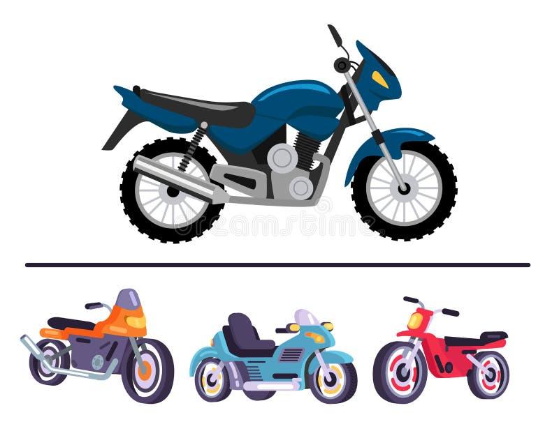 Sportmotorcyklar i skinande polerad corpusuppsättning stock illustrationer