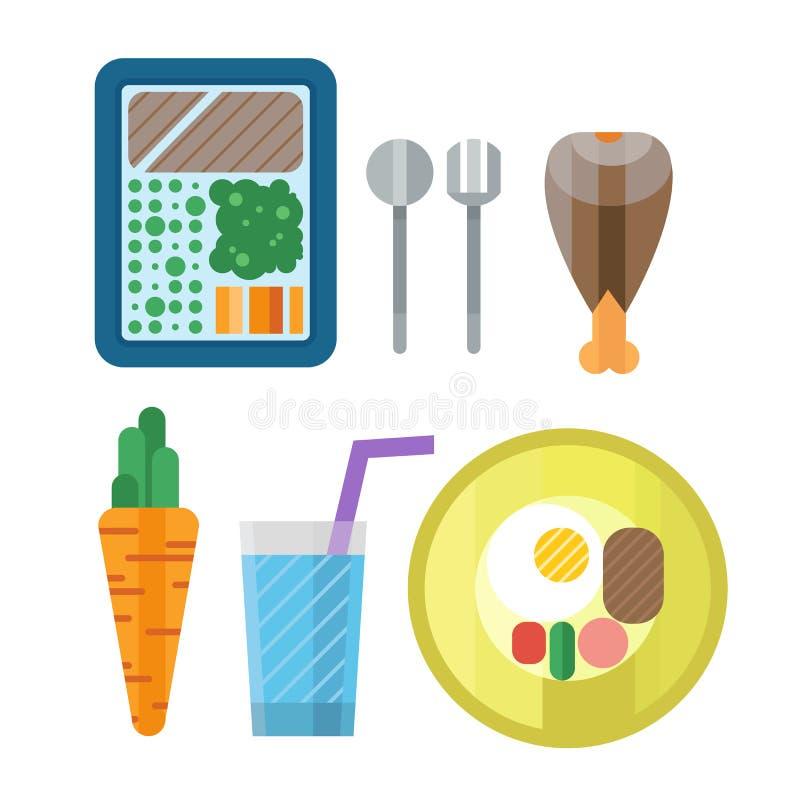Sportnahrungsikone in flache Art ausführlicher gesunder Lebensmittel- und Eignungsdiätbodybuilding proteine Energie trinken athle vektor abbildung
