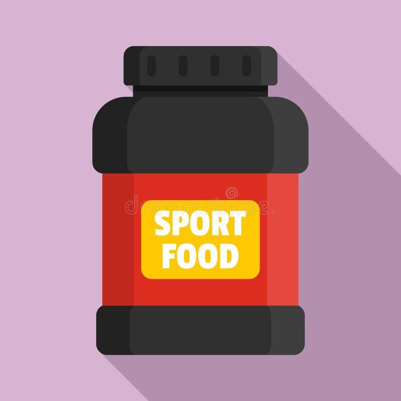 Sportnahrungsmittelglasikone, flache Art lizenzfreie abbildung