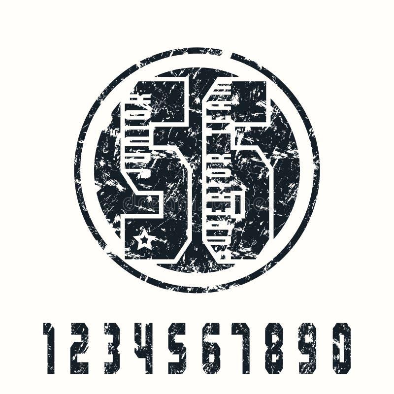 Sportnummer och emblem royaltyfri illustrationer