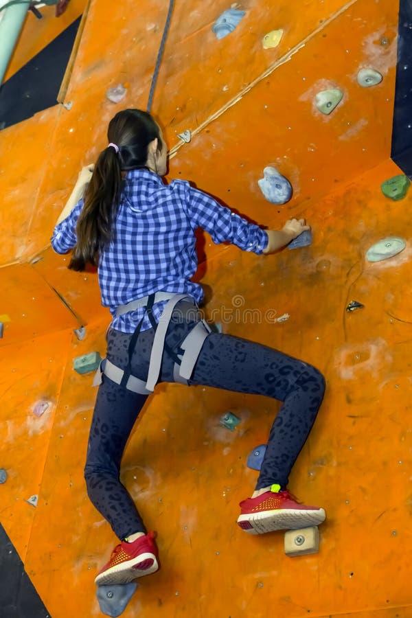 Sportowa kobieta wspina się indoors, widok od plecy obrazy stock