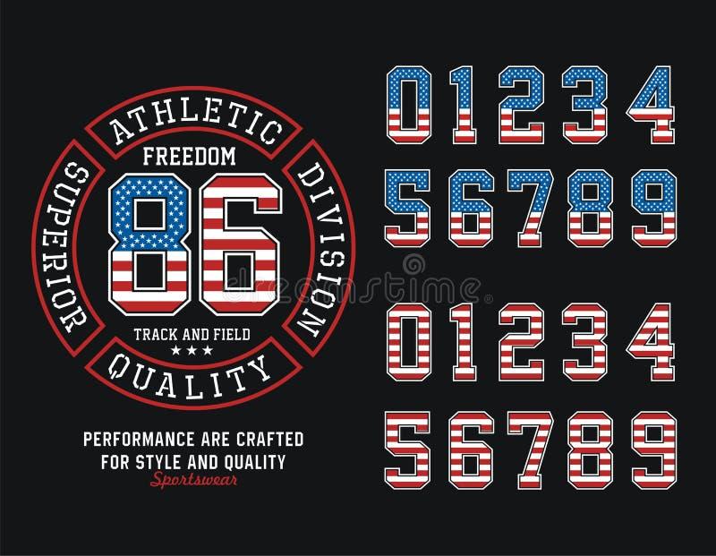 Sportowa podziału Stany Zjednoczone wolności koszulki grafika, Wektorowy wizerunek ilustracja wektor