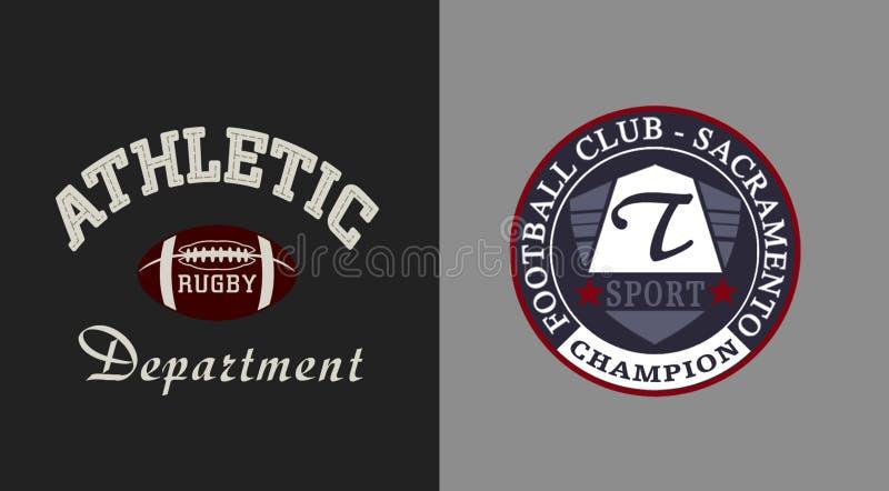 sportowa, wydziałowa «typografia «, sportowe trójnik koszula grafika royalty ilustracja
