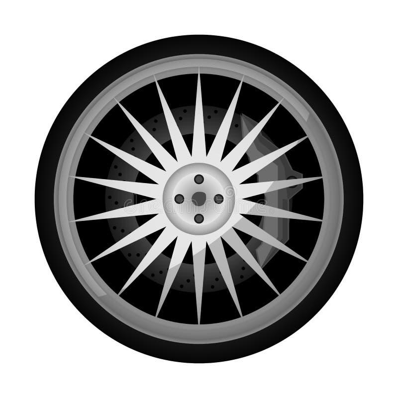 Sportowego samochodu obręcza wektoru titanium ikona ilustracji