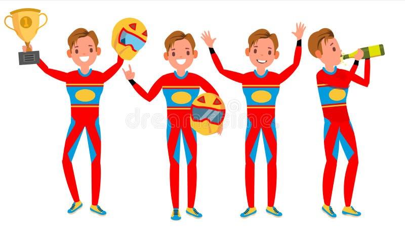 Sportowego Samochodu setkarza samiec wektor Rewolucjonistka mundur pozy Bawić się W Różnych pozach Mężczyzna atleta Turbo wiec Od ilustracja wektor