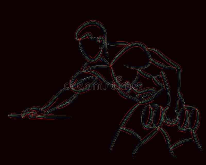 Sportowi mężczyźni pompuje w górę tylnych mięśni treningu gym bodybuilding royalty ilustracja