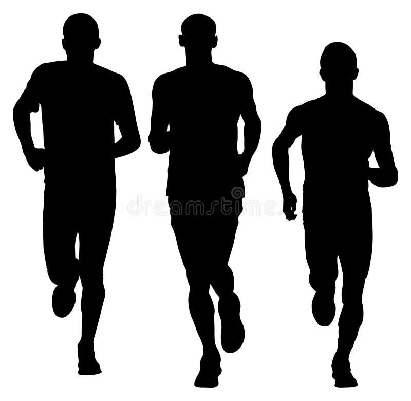 Sportowiec działające wektorowe sylwetki Maratoński setkarzów biegać royalty ilustracja