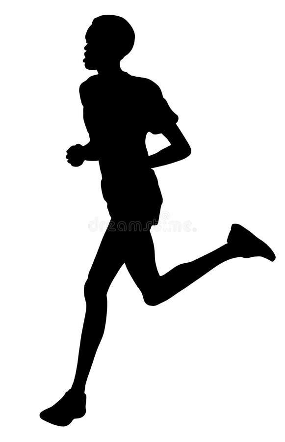 Sportowiec działające wektorowe sylwetki odizolowywać na białym tle Biegacze na sprincie ilustracja wektor